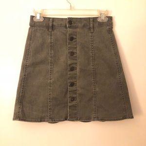 Olive green button front denim skirt